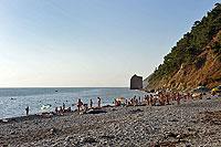 Вид на скалу Парус с пляжа пос. Прасковеевка.